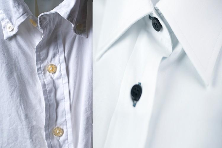 Achten Sie darauf, dass gewisse Hemden keine steifen Kragen haben. Am Beispiel links hilft auch Bügeln nicht viel. Steiff, wie Metall muss der Kragen fürs Foto sein (Bsp rechts).