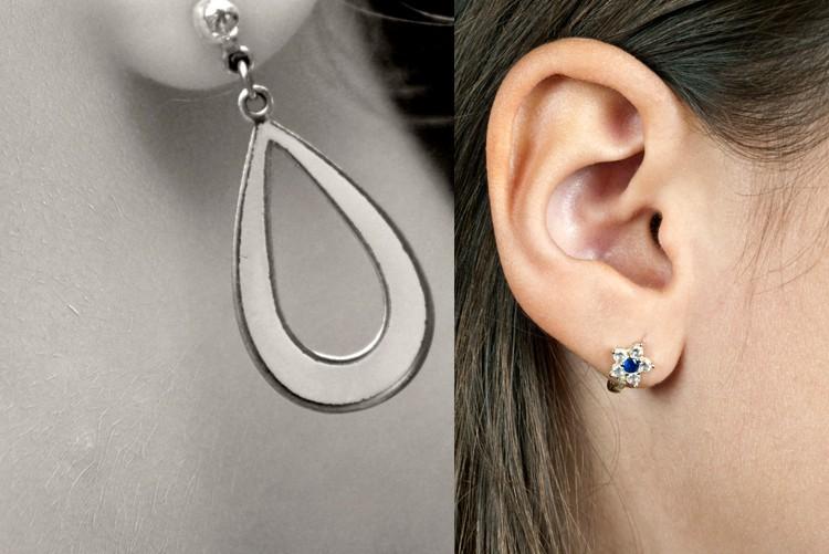 Sind Sie zurückhaltend mit dominantem Ohrschmuck. Verwenden Sie unaufdringliche Ohrstecker oder elegante, kleine Ohrclips. Am besten eine Auswahl mitbringen.